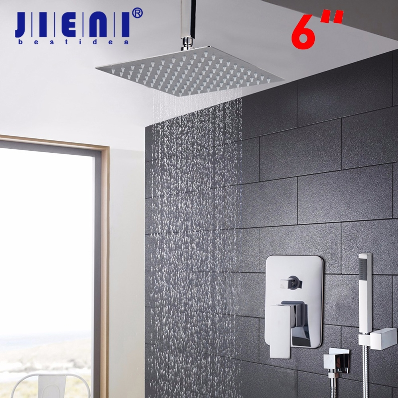 New Chrome 6 Rain Shower Faucet Set Valve Mixer Tap Ceiling Mounted  Shower Set new chrome 6 rain shower faucet set valve mixer tap ceiling mounted shower set