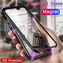 Ultra Magnetic Adsorption Metal Case For iPhone XR XS MAX X 8 Plus 7 10 Tempered Glass Back Magnet Cover iPhone 7 6 6S Plus Case magnetic adsorption case for iphone x xs max 10 8 7 6 s plus coque tempered glass magnet back cover for iphone xr xs max fundas