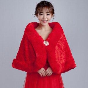 Image 4 - Vestes dhiver en fourrure pour femmes, enveloppe, accessoires de mariée, collection 2020