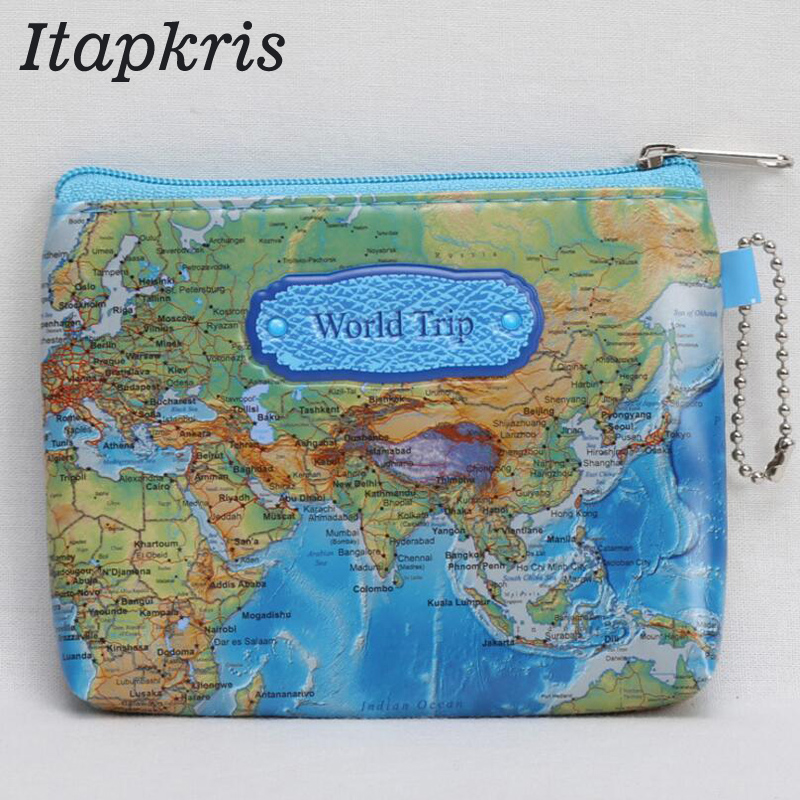 Hot sale Nylon Zipper 3D Printing Mini World Map Coin Purse Pouch Women Men Casual Zipper Card Dollar Change Bag Case stylish hemming wide striped and world map printing voile scarf for women