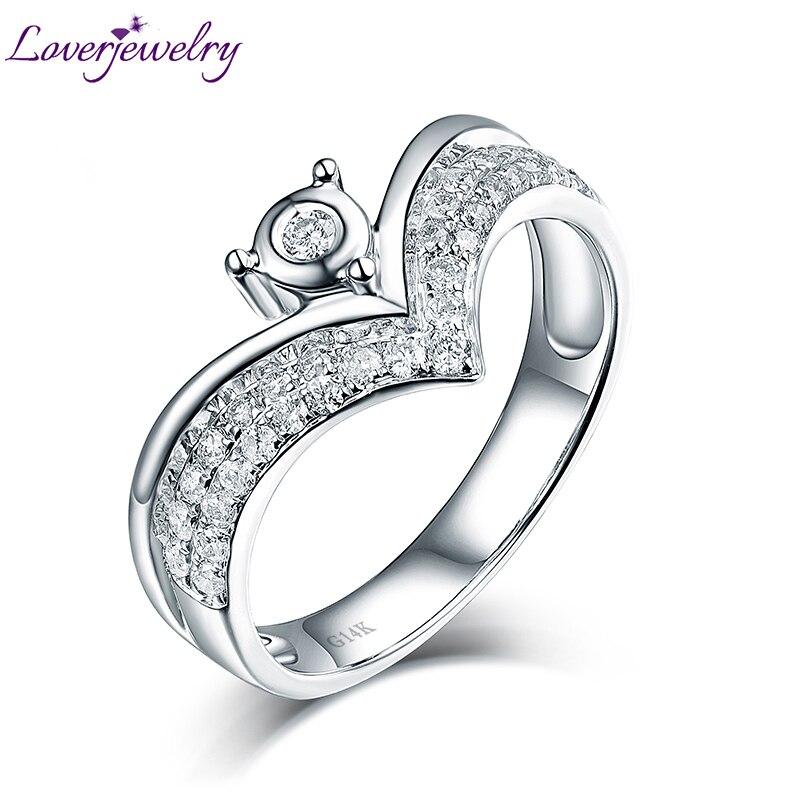 Real 14k White Gold Crown Diamond Ring For Wedding Rings Good Dia