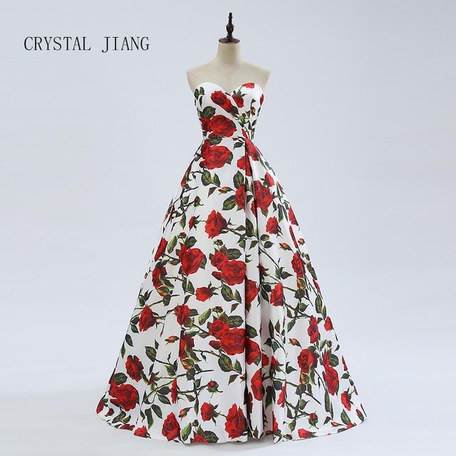 CRYSTAL JIANG High Quality 2018 Sweetheart Rose Floral Printed Satin A Line Zipper Back Fashion Bridal Wedding Dresses