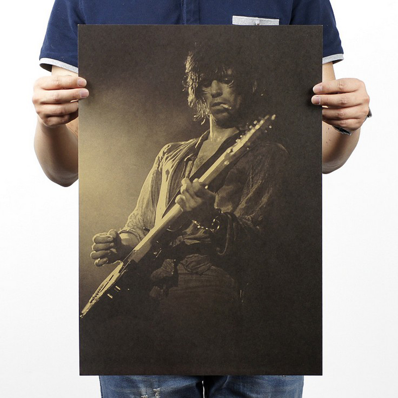 Gratis forsendelse, Rock Star Guitar player / kraftpapir / Cafe / bar plakat / Retro plakat / dekorativt maleri 51x35.5cm
