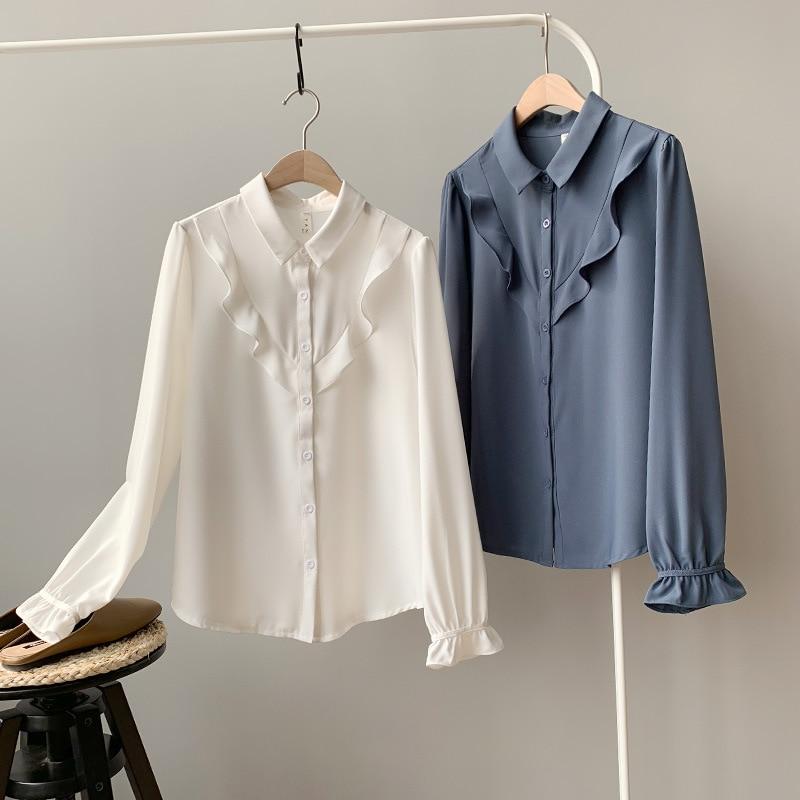 Blanco Elegante Moda Camisas De Mujer Larga Blusas Casual Cuello Coreana Manga Marino Tops 2019 Volantes Blanco azul v1FI5wqvO