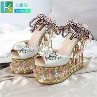 2019 г. Новая модная летняя женская обувь высокого качества, кожаный с бисером удобная металлическая обувь с открытым носком из чистой овечье
