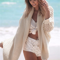 KL899 Top selling sweater coat women batwing sleeve hollow out poncho beautiful crochet long cardigan