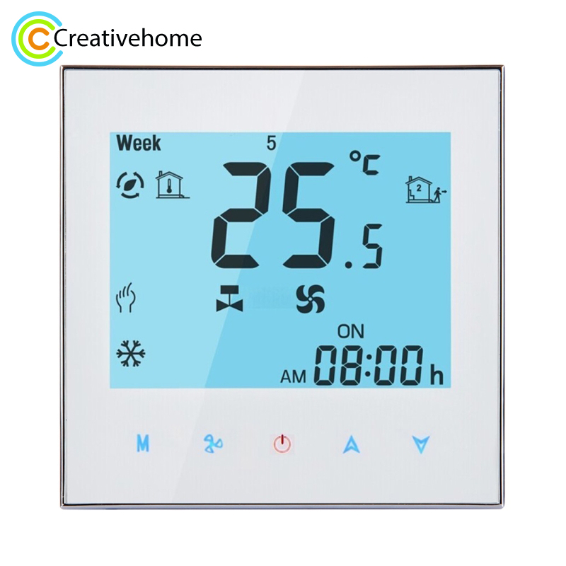WIFI Control Weekly Programming Fan Coil Room Thermostat AC 110 240V 2A Smart Central Air Conditioning