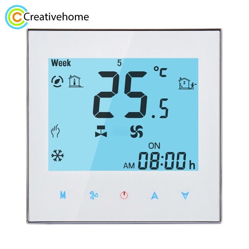 Thermostat d'ambiance de bobine de ventilateur de programmation hebdomadaire de contrôle de WIFI AC 110-240 V 2A contrôleur de température Central intelligent de climatisation