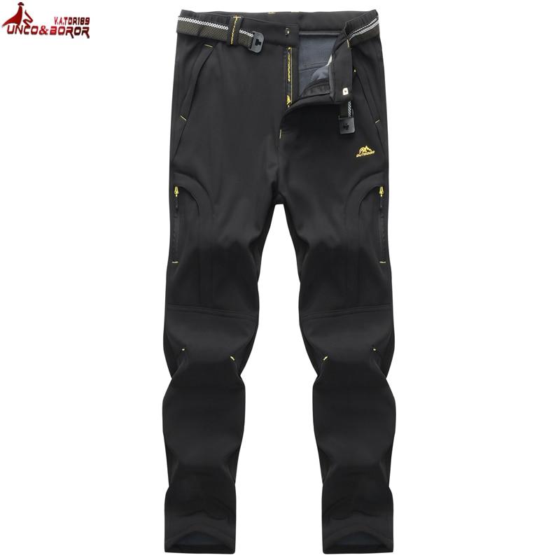 UNCO&BOROR Women Men Trousers Winter Fleece Cargo Pants Breathable Thermal Windproof Waterproof Pants Trousers Size 6XL,7XL,8XL
