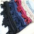 2017 Franja Hiyab Lisos Viscosa Mujeres Sólido Del Abrigo Del Mantón Grande Bufanda Principal Islámica Ladie Borlas Diseño bufandas suaves Envío gratis