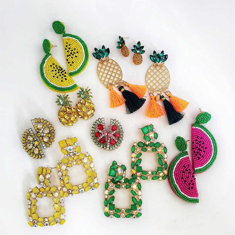 JUJIA Summer Candy Color Statement Fruit strawberries  watermelon pineapple Stud Earrings For Women Wedding Gifts Jewelry