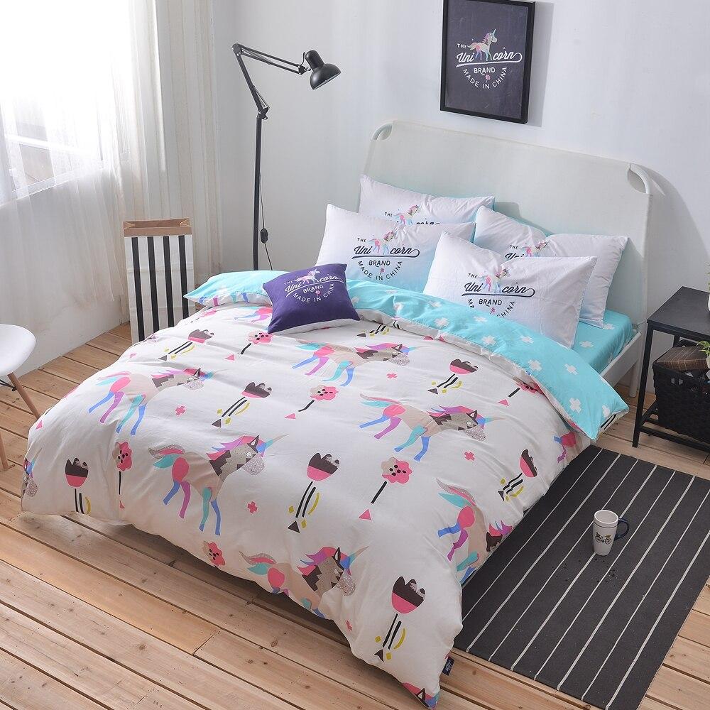 Light blue bedding - 100 Cotton Unicorn Bedding Set Queen Twin Double Size Duvet Cover Light Blue Bed Sheet Pillowcases 4pcs Duvet Cover Set Bedding
