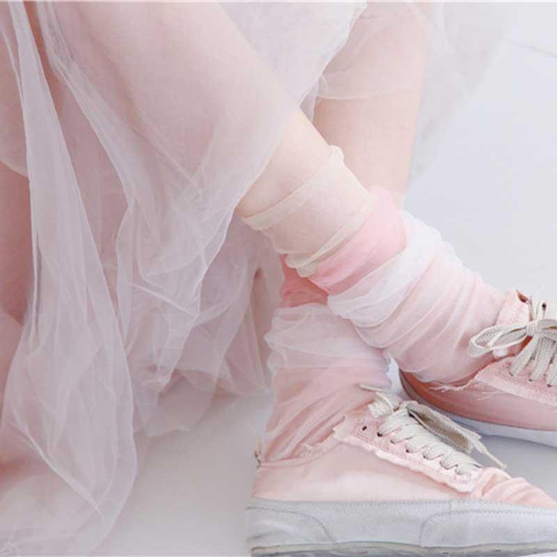 Fashion Summer Yarn Shiny Short   Socks   Female Harajuku Thin   Socks   Women Modern Art Transparent Funny Glitter   Socks   Hollow Out Sox