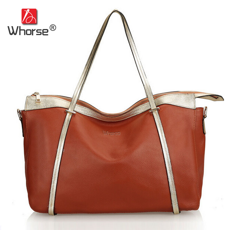 [WHORSE] Brand Casual Tote Bag Large Genuine Leather Women Real Cowhide Hobo Shoulder Bags High Quality W04050 [whorse] brand luxury fashion designer genuine leather bucket bag women real cowhide handbag messenger bags casual tote w07190