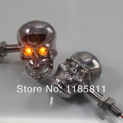 1 Pair Chrome LED Skull Turn Signal Light for Honda CBR Shadow VTX Yamaha Virago Road Royal V Star Suzuki Intruder Boulevard