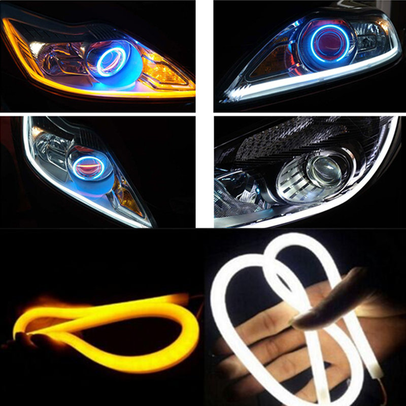 2pcs 60cm Car Flexible Strip LED Amber Sequential Flasher Flowing Switchback Turn Signal Light Angel Eye DRL Lamp Headlights