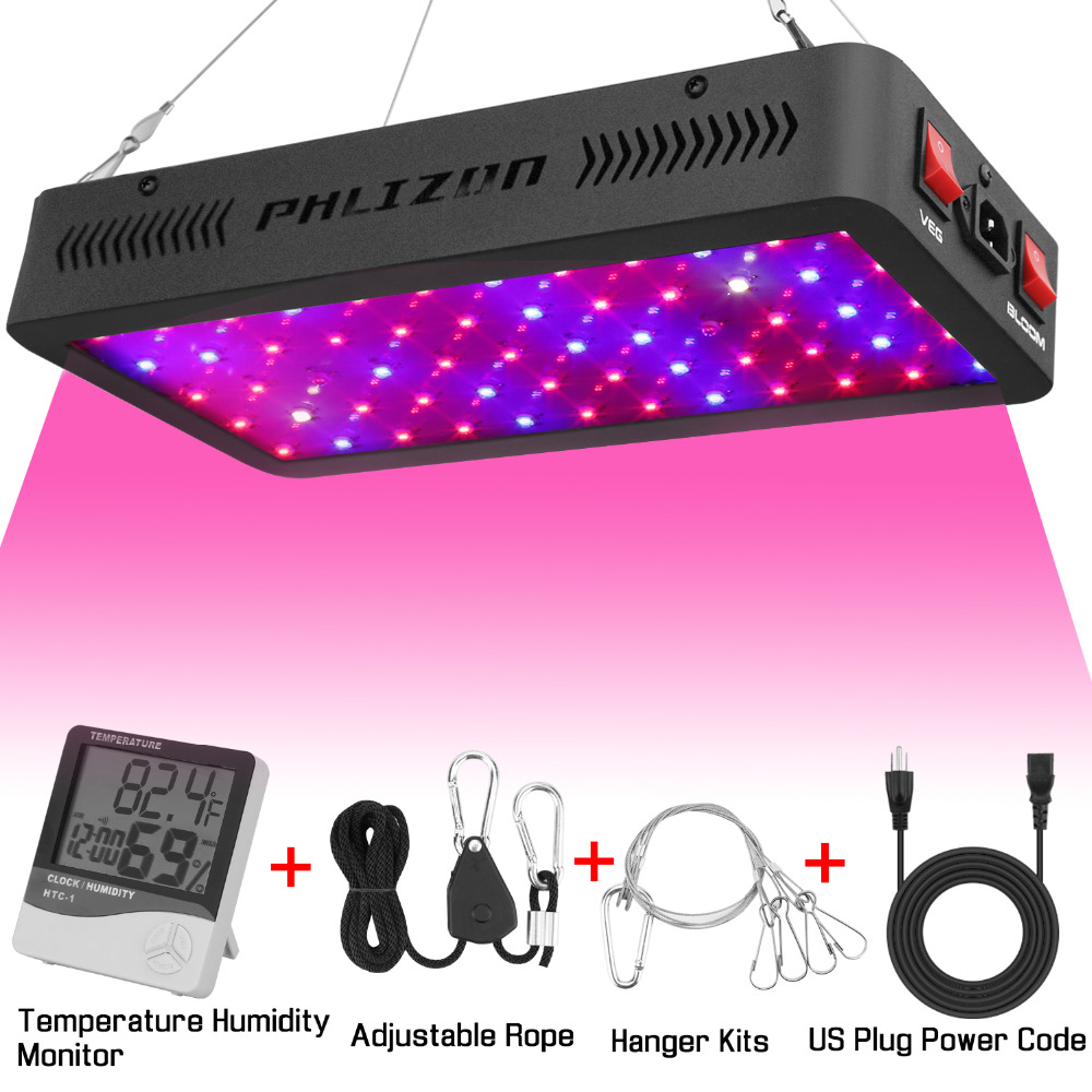 Phlizon professionnel led élèvent la lumière 600 W Spectre Complet Rouge Bleu UV système de surveillance Croissante Lampes Pour grandir boîte de tente système de culture hydroponique