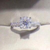 ANI 18 К из белого золота (AU750) обручальные кольца 0,4 КТ Certified настоящий бриллиант элегантные модные кольцо для леди Обручение Fine Jewelry