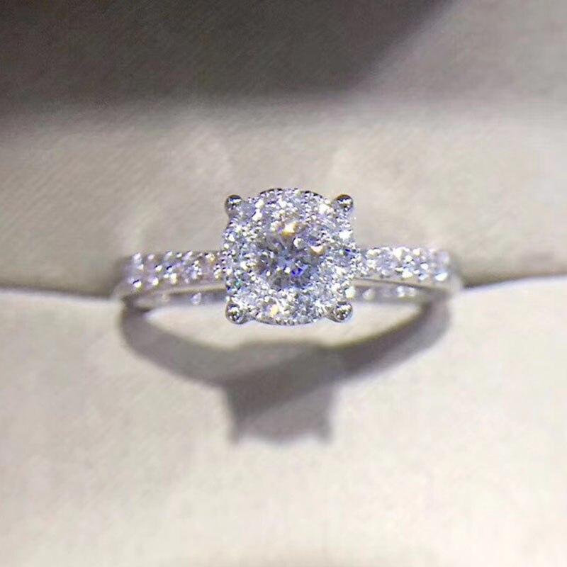 ANI 18 Karat Weißgold (AU750) Trauringe 0,4 ct Certified Real Diamond Elegante Mode Ring für Dame Edlen Schmuck