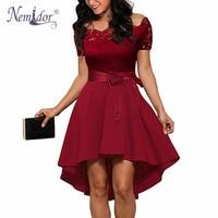 Nemidor Hot Sales Women Elegant Short Sleeve Asymmetrical Swing A Line Dress Slash Neck Patchwork Midi