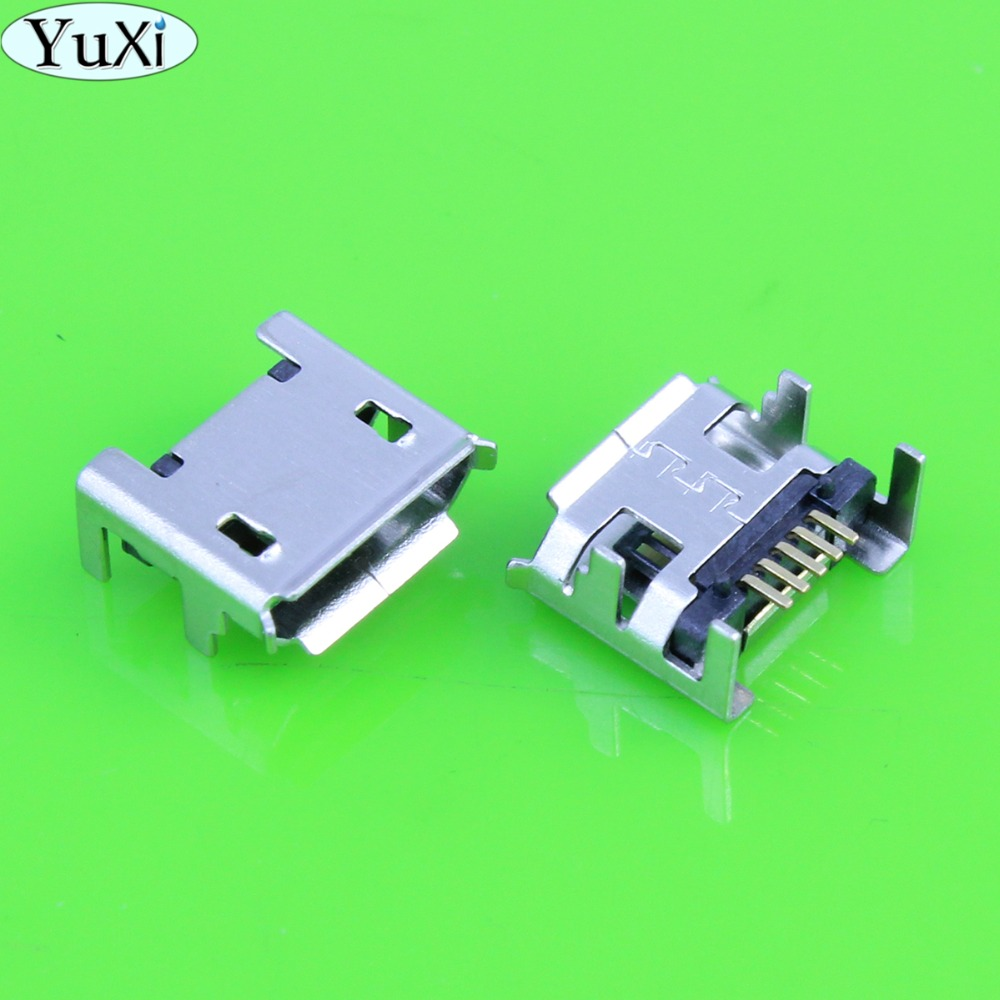 YuXi 2pcs mobile phone Tablet Micro USB Jack Charge Socket 4 feet DIP 5-pin SMD For ACER <font><b>A100</b></font> Tablet /for Lenovo IdeaPad Tablet image