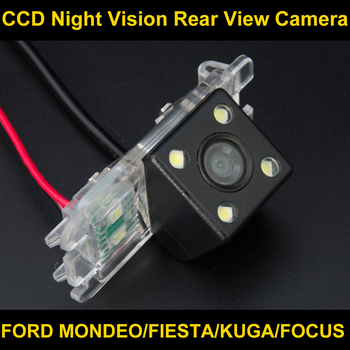 Impermeabile 4 led videocamera vista posteriore inversione di sostegno parcheggio camera per Ford Mondeo Fuoco Hatchback Fiesta S-Max 2007 2008 2010 2011