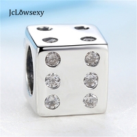 Authentic 925 Sterling Silver Bead Charms Vintage Crystal Cube Dice Beads Fit Women Pandora Bracelets Bangles