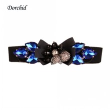 Dorchid Women Cummerbunds 4 Colors Luxury Crystal Floral Beaded Crystal Elastic Belt Female faja wide belts for women Wholesale