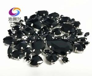 Продажа в убыток! 68 шт./упак. черный смешанный размер, высококачественный стеклянный кристаллический материал, пришивные стразы-коготки, аксессуары для самостоятельной сборки/одежды