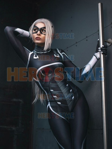 Black Cat Suit Spiderman Cosplay Costume The Heist Black Cat 3D Print Spandex Zentai Bodysuit Halloween Costume for Woman/Kids
