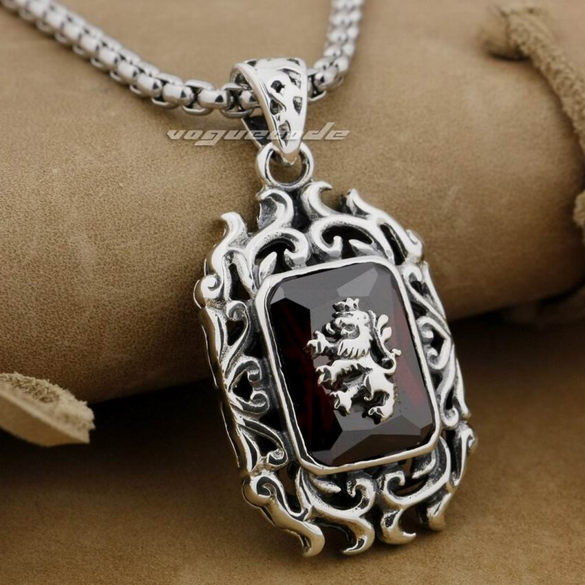 LINSION 925 Sterling Silver Lion On Fire CZ Stone Mens Biker Rock Punk Pendant 9E009