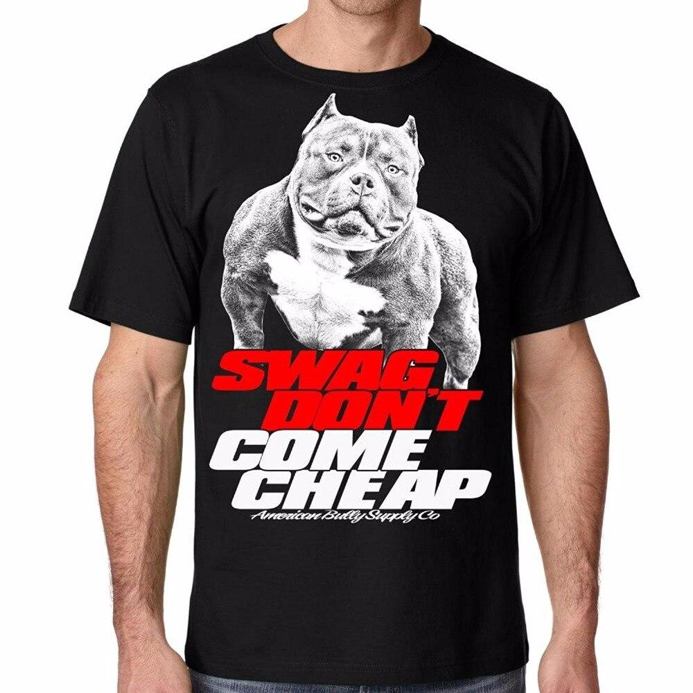 Новый 2018 Забавный Для Мужчинs питбуль SWAG не приходят дешевые футболки с О-образным вырезом Короткие Дизайн футболки