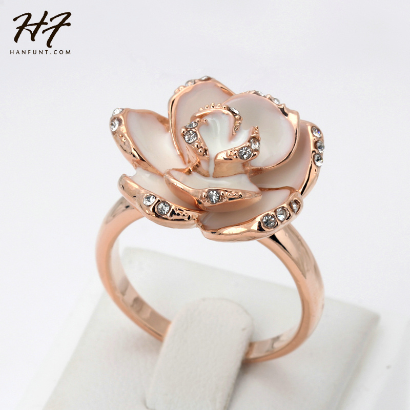 Top Quality Crystal White Rose Flower Rings Rose Gold Color Ring Jewelry For Women R128 R095
