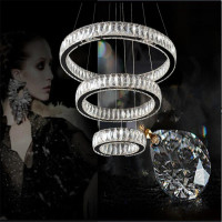 Modern Chrome Chandelier Crystal Diamond Rings LED Pendant Lamp Stainless Steel Hanging Lamp Light Fixtures Lustres Para Sala