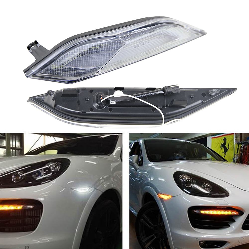 2x Clear Lens LED Side Marker Lights bar for Porsche Cayenne 958 Chassis 2011-2014 (Amber indicator light+ white running light) 1pair led side maker lights for jeeep wrangler amber front fender flares parking turn lamp bulb indicator lens