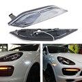 2x Clear Lens LED Side Marker Lights bar for Porsche Cayenne 958 Chassis 2011-2014 (Amber indicator light+ white running light)