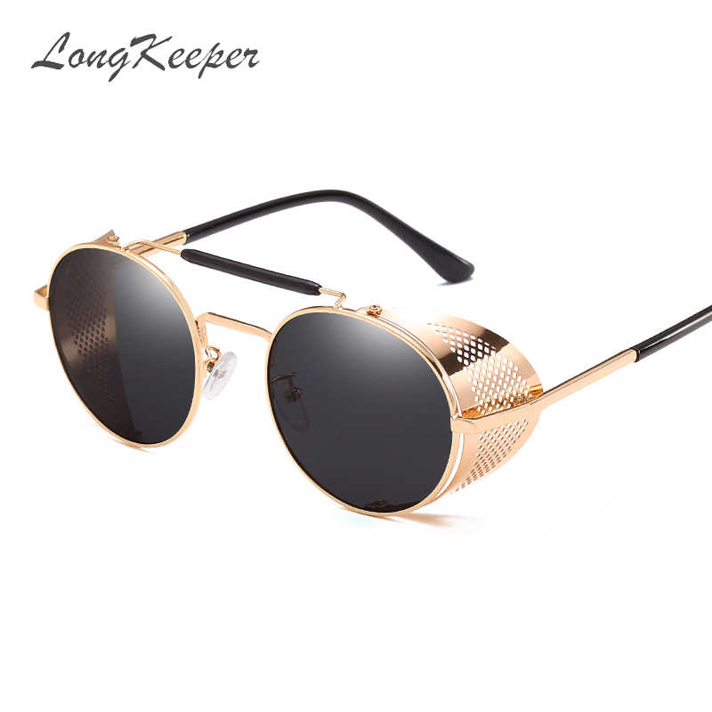 668b4d802d 2019 Black Retro Round Steampunk Sunglasses Women Metal Frame Side Shield  UV400 Sunglasses Men Classic Vintage