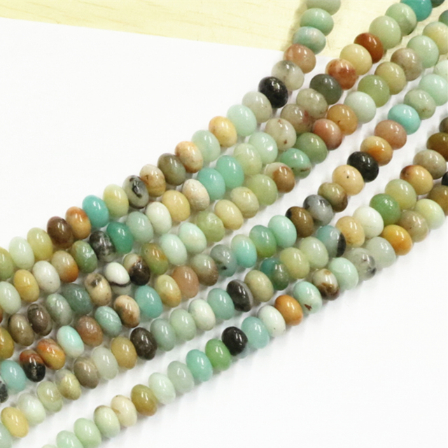 4bce42dc26a41 US $5.99 25% OFF|Smooth And Faceted Rondelle Abacus 5X8mm Amazon Natural  Stone Amazonite Bead Loose Beads Jewellery Making Findings 15inch B3260-in  ...