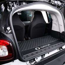Коврик для багажника автомобиля с логотипом декоративные аксессуары Стайлинг для нового smart 453 fortwo задняя коробка интегрированная кожаная защитная накладка от грязи