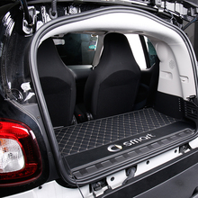 Car trunk mat logo decorative accessories styling for new smart 453 fortwo Rear box Integrated leather anti dirty protection pad