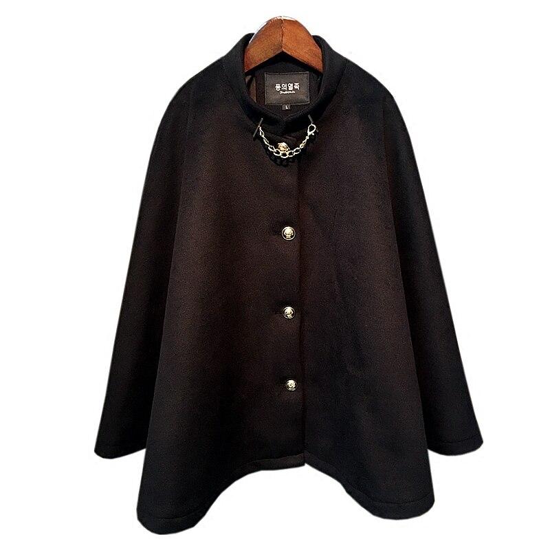 2017 new winter ladies black woolen cloak with golden chain &button