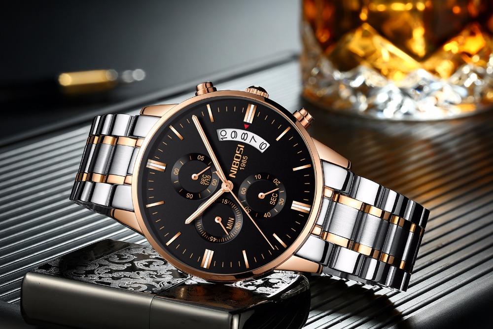 Relojes de hombre NIBOSI Relogio Masculino, relojes de pulsera de cuarzo de estilo informal de marca famosa de lujo para hombre, relojes de pulsera Saat 16