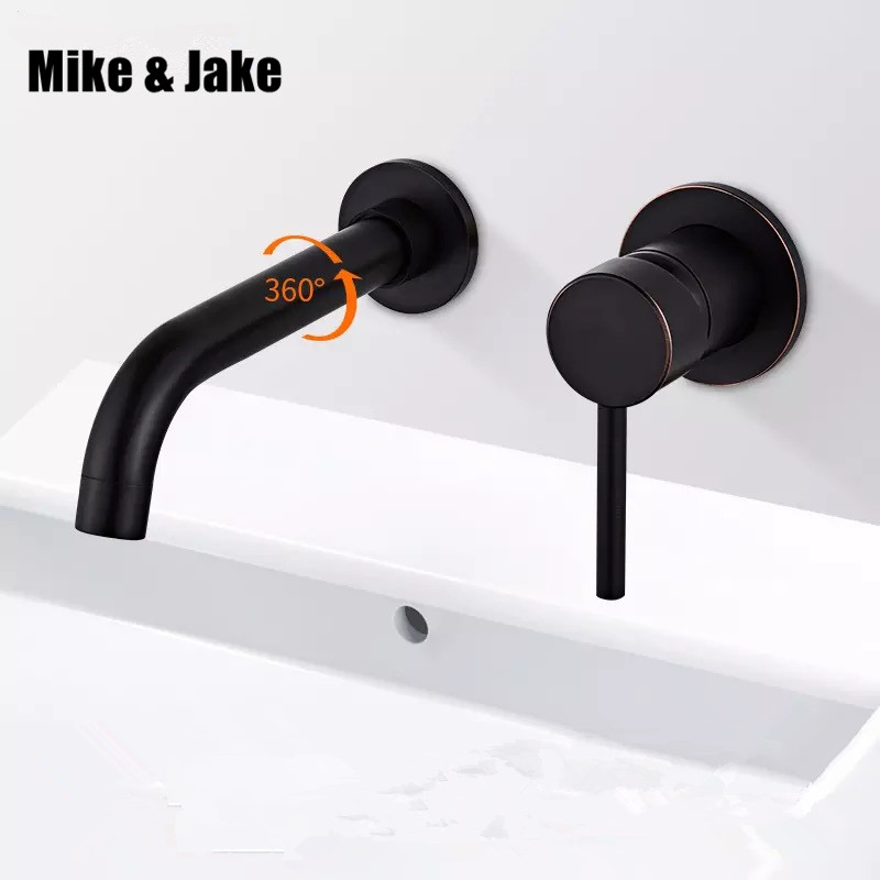 Free shipping Black brush Brass Wall Mounted Basin Faucet Single Handle Bathroom Mixer Tap Hot Cold Sink Faucet Rotation Spout free shipping rose red brass bathroom faucet vessel sink basin faucet cold hot water mixer tap single lever handle swivel spout