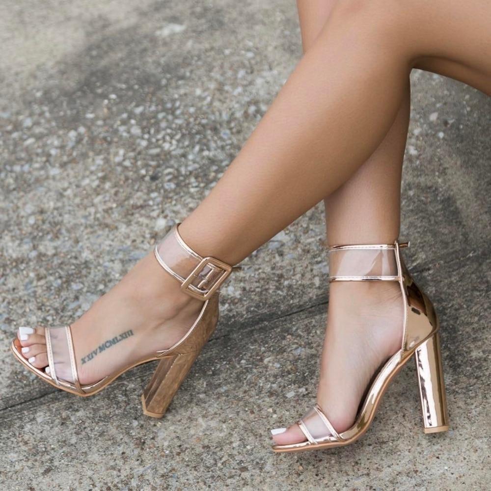 Lala ikai plus 10 11 12 size women sandals 10cm heels shoes sexy transparent clear sandalias