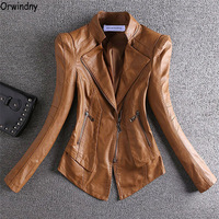 Orwindny 2019 Spring Jacket Leather Women Short Motorcycle Leather Clothing Outerwear Stand Collar Zipper Autumn Leather Coats