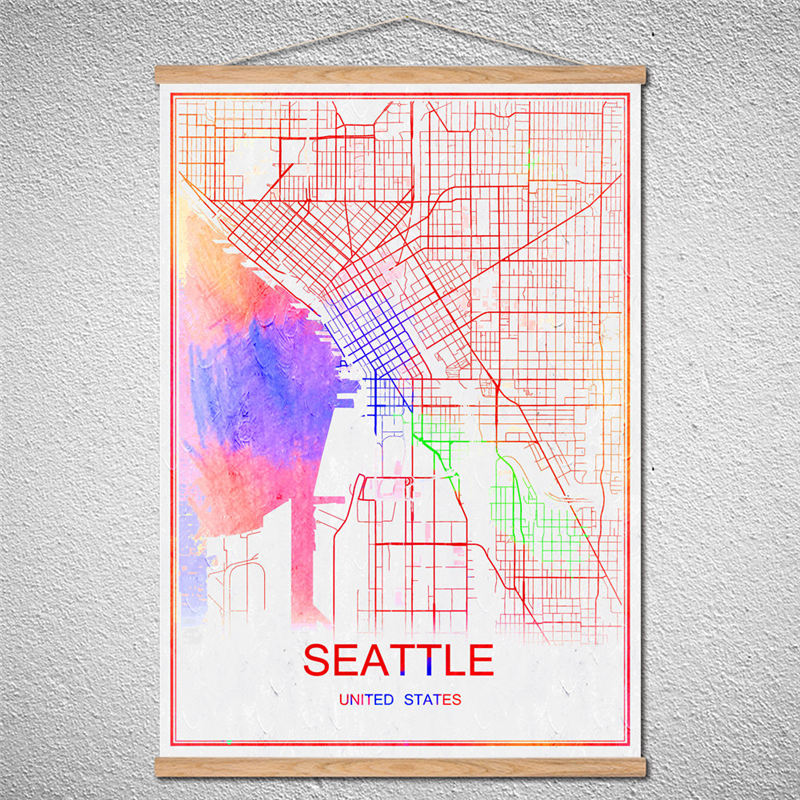 With Frame SEATTLE Vintage Retro Poster Customized Pattern Round Black World City Map Wall Art Sticker Cafe Bar Pub Home Decor image