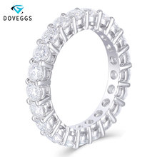 DovEggs Classic 14K White Gold 3mm FG color Moissanite Eternity Wedding Band for Women Gift Ladies Stackable Ring