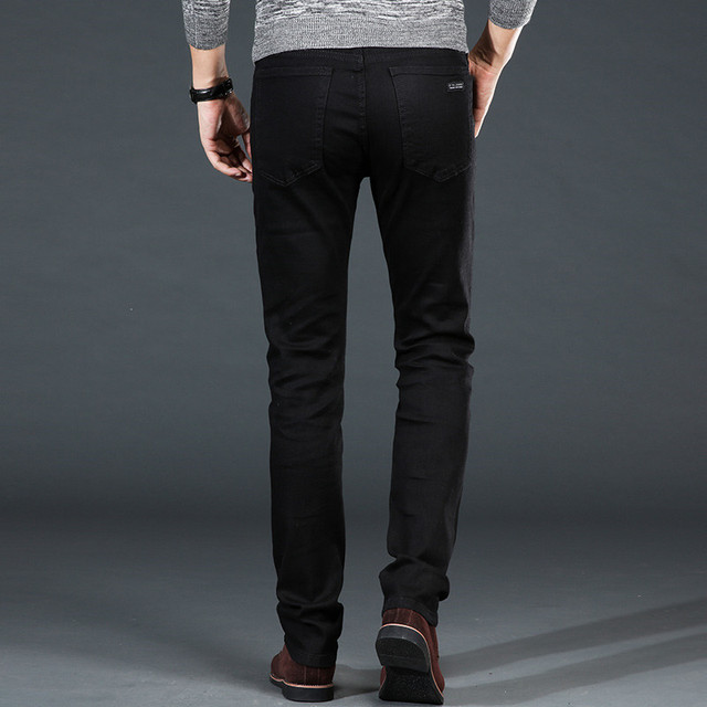 Men's Classic Black Jeans Elastic Slim 4