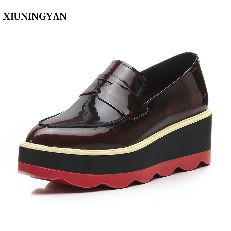 XIUNINGYAN Genuine Leather Platform Flat Pointed Toe Oxford Shoes Women Creeper Shoes New Fashion Casual Womens Flats Heel Shoes