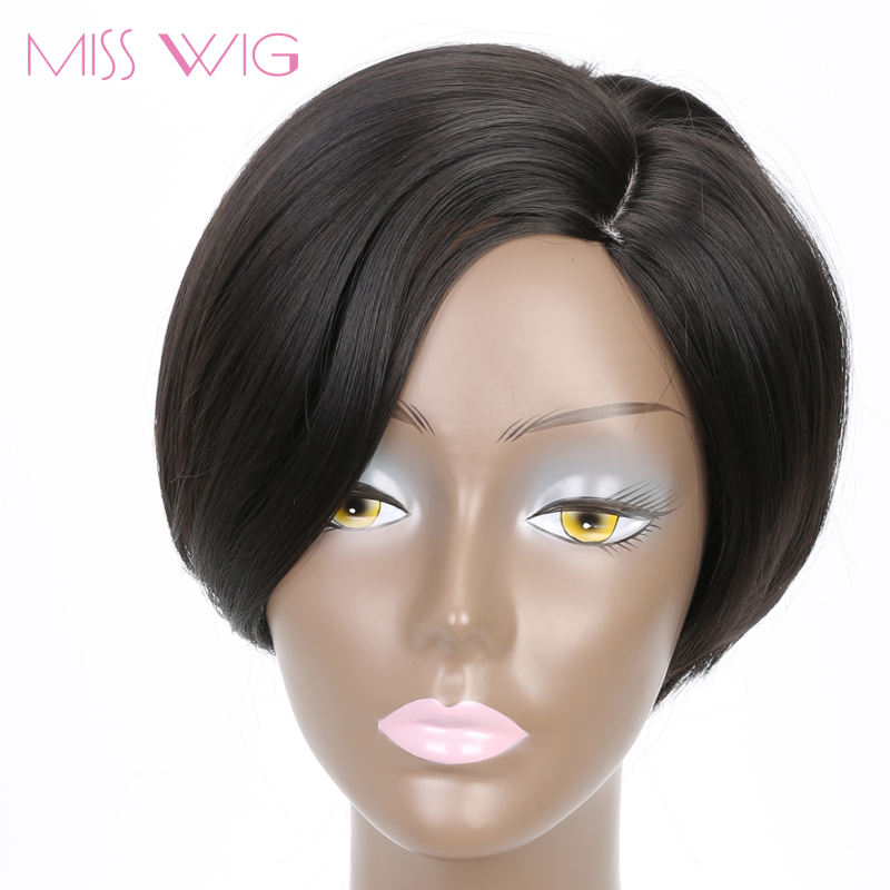 MISSWIG Curved Simulation Scalp 6Inchs Short Wigs For Black Women Synthetic Wigs Black Hair Bob Hairstyle High Temperature Fiber